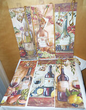 6-DELUXE WINE GIFT BAGS W/TAGS~6 DIFFERENT DESIGNS~ALL OCCASION GIFT GIVING ~NEW