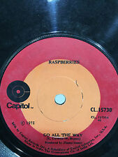 """RASPBERRIES go all the way/with you in my life RARE SINGLE 7"""" 45  INDIA VG+"""