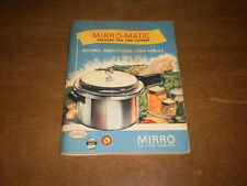 Vtg 1951 Mirro Matic Pressure Pan Canner Recipes~Directions~Time Tables~Parts