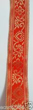 Golden Beautiful Embroidery on Orange Base Border Lace - 2 meter