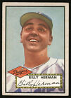 1952 TOPPS BASEBALL HIGH NUMBER CARD ~ #394 ~ BILLY HERMAN ~ DODGERS ~ CENTERED