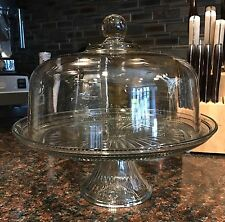 NEW Anchor Hocking Canton Large Clear Glass Cake Plate with Dome Cover Lid