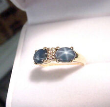 TWO GENUINE BLUE STAR SAPPHIRES 1.98 TCW with DIAMONDS 14K GOLD BAND RING