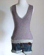 J. Crew Striped V Neck Sleeveless Fitted Pullover Sweater Vest Tee Shirt Top XS