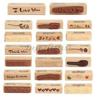I Love you Thank Happy Birthday Flower Wooden Rubber Stamp Card Craft DIY