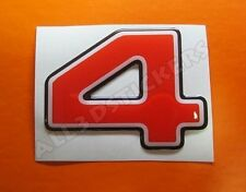 3D Stickers Resin Domed NUMBER 4 FOUR - Color Red - 50 mm(2 inches) Adhesive