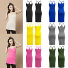 Extra Long Basic Cami Tank Top Spaghetti Strap MINI DRESS Cotton Solid Tunic SML