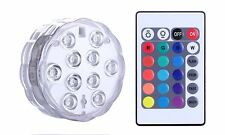 Submersible LED Lights, Remote Battery Powered, Qoolife RGB Multi Color Chan NEW
