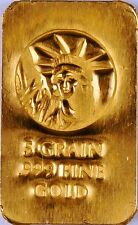 5 GRAIN (NOT GRAM) GOLD BAR OF 24K PURE .999 FINE GOLD STRATEGIC BULLION g25