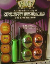 10 PIECE Halloween KIDS CARVING KIT Ages 8+ Pumpkin CARVE Spooky EYEBALLS