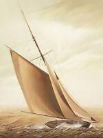 W. Wilde: On Board Ship Fertig-Bild 60x80 Wandbild Segelschiff segeln Meer