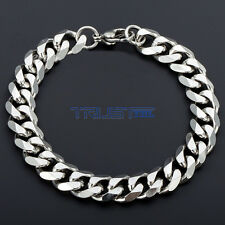 7mm Mens Chain Curb Link Silver Tone Stainless Steel Bracelet 8.66''