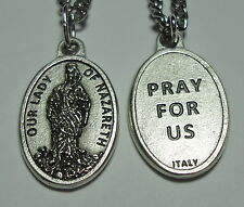 """Our Lady of Nazareth Holy Medal & 24"""" Stainless Steel Chain"""