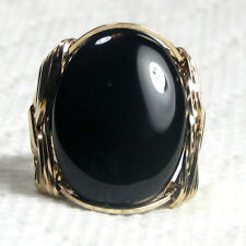 Black Onyx Gemstone Ring 14K Rolled Gold Jewelry Size Selectable