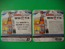 2008 Beer Coaster ~*~ COORS Brewing Co Light ~ Win NFL Tickets by Texting WINTIX