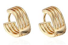 18 k Gold Plated Jewellery Small Girls Women Wave Hoops Earrings E719