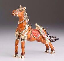 Brown Royal Horse Trinket Box by Keren Kopal  Faberge box & Austrian crystal