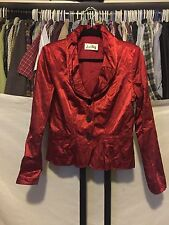 Joseph Ribkoff Red Cranberry 3 Button Metallic Blazer Jacket Size Medium