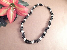 """Hematite and Mother of Pear Beaded Necklace 17"""" Magnetic Grey Stone VTG Jewelry"""