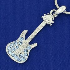 "W Swarovski Crystal Blue Electric Guitar Music Pendant Chain Necklace 18"" Chain"