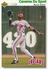 197 ALEX COLE CLEVELAND INDIANS  BASEBALL CARD UPPER DECK 1992