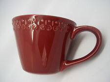 STARBUCKS PRETTY HAND PAINTED BURGUNDY RED EMBOSSED MUG CUP PORTUGAL 14 OZ.