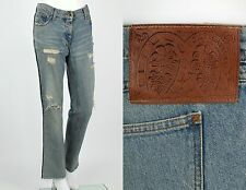DOLCE & GABBANA DISTRESSED STRAIGHT LEG FIVE POCKET JEANS LEATHER PIPING M / L
