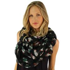 Light Soft Cute Fun Penguin Print Long Loop Wide Infinity Holiday Scarf Black
