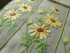 BLACK-EYED SUSAN Flowers 17 Pc PLACEMATS NAPKINS RUNNER Hand Embroidery CHEERY