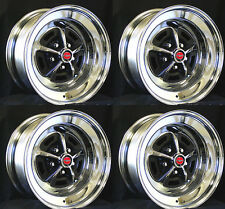 """NEW! Ford Magnum 500 Wheels 14"""" x 7"""" Set of Complete with red Caps and Nuts"""
