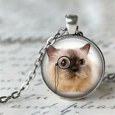 Vintage cat Cabochon Silver plated Glass Chain Pendant Necklace #D76