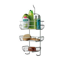 3 Tier Chrome Hanging Shower Caddy with 2 Hanging Hooks Storage Tidy Basket Rack