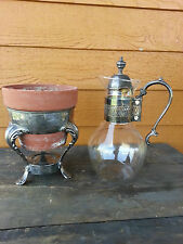 Victorian Salvaged Silver decanter and base flea market decor -use for plant?