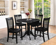 5PC SET, ROUND DINETTE KITCHEN DINING TABLE with 4 WOOD SEAT CHAIRS IN BLACK