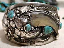 Big 98G Old NAVAJO Sgnd SLEEPING BEAUTY TURQUOISE Faux CLAW STERLING Silver CUFF