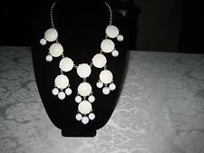 WHITE FACETED-BEAD J CREW BUBBLE NECKLACE!  BEAUTIFUL AND STRIKING!