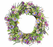 New Large Wreath Spring Door Deco Purple Silk Flowers Green Leaves burton+BURTON