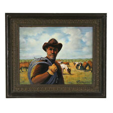 """""""A Real Cowboy"""" By Anthony Sidoni 2003 Signed Oil Painting 15 3/4""""x18 1/2"""""""