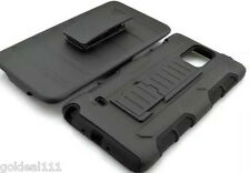 Samsung Galaxy Note 4 Hybrid Tank Armor Holster Case Cover w/ Kick Stand Black