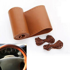 Auto Brown PU Leather DIY Car Steering Wheel Cover With Needles and Thread