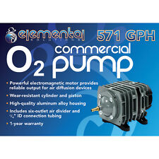 Elemental O2 Commercial Air Pump, 571 gph - aquarium pond aquaponics hydroponics
