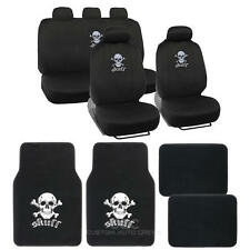 13 Pc Interior Set - Car Seat Covers & Carpet Car Floor Mat - Skull Heads Design