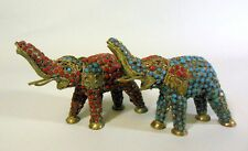 Vintage Pair Elephants Turquoise Coral Nepal Tibet China Trunk Up Good Luck