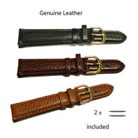 Genuine Leather Padded Watch Strap With Stainless Steel Gilt Buckle A711