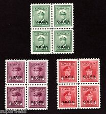 Mint blocks of KGVI O1 O3 O4 MNH OHMS Canadian stamps.  Beautiful examples cv$48