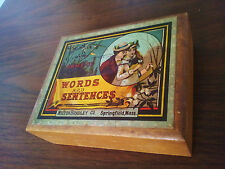 Milton Bradley Game Of Words And Sentences 1870's Wooden Box w- Bewitching