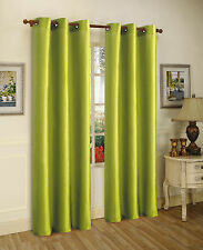 2PCS MIRA LIME GREEN SOLID GROMMET FAUX SILK WINDOW CURTAINS PANELS 63""