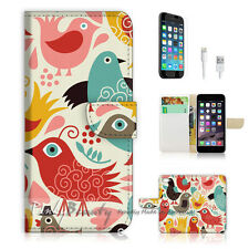 "iPhone 6 (4.7"") Print Flip Wallet Case Cover! Bird Pattern P1418"