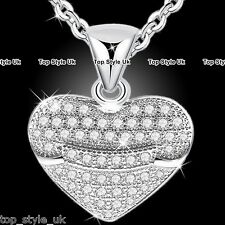 Romantic Love Heart 925 Silver Crystal Necklace Chain Jewelry Gifts for Wife Mum