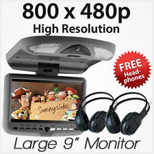 """9"""" Car DVD USB Player Roof Mount Mounted Flip Down Monitor Screen Beige Sale AT"""